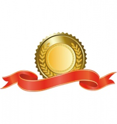 Gold medal and red ribbon vector