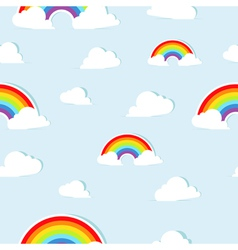 Seamless pattern with abstract paper rainbows vector