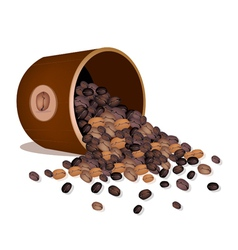Various kind of coffee beans dropped from a pail vector