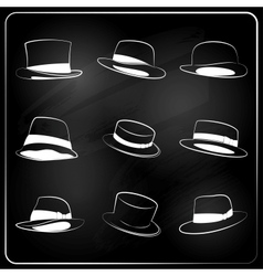Chalkboard hipster hat collection vector