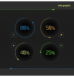 Circles with percentage for business presentations vector