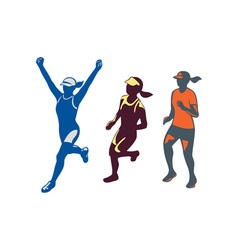 Female triathlete marathon runner collection vector