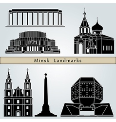 Minsk landmarks and monuments vector