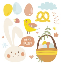 Easter set with rabbit vector