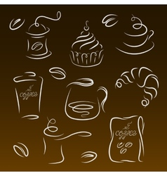Morning breakfast set of coffee logos vector