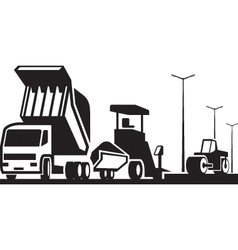 Construction of roads streets and highways vector