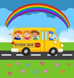 Cartoon school bus with happy children vector