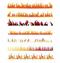 Set of fire border element line frame vector