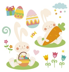 Easter set with rabbits vector