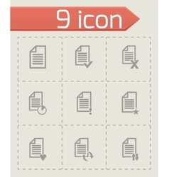 Black document icon set vector