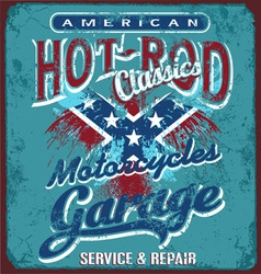Hot rod motorcycle garage vector