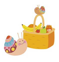 Fruit basket and snails vector