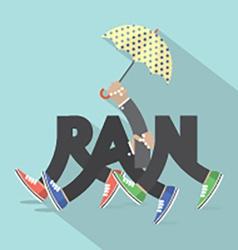 Rain with legs and umbrella typography design vector