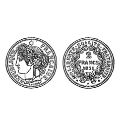 Silver francs coin engraving vector