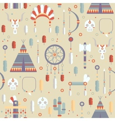 Seamless pattern of colorful ethnic set with dream vector