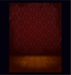 Wood room with wallpaper vector