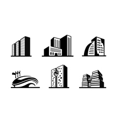 Set of black and white building icons vector
