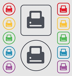 Printing icon sign symbol on the round and square vector