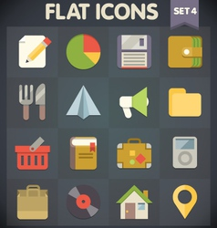 Universal flat icons for applications set 4 vector