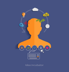 Idea incubator flat design concept template with vector
