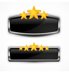 Metallic icon with stars vector