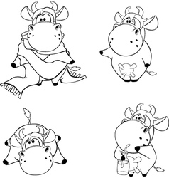 Happy cows clip art cartoon coloring book vector