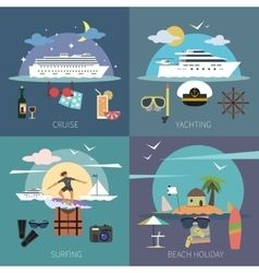 Ship flat set vector