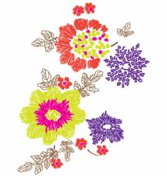 Floral embroidery design vector