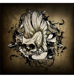 Skull with grunge vector