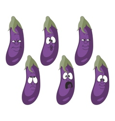 Emotion cartoon eggplant vegetables set 010 vector