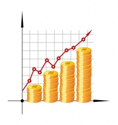 Financial graph with coins vector