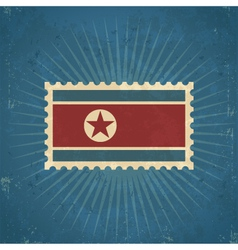 Retro north korean flag postage stamp vector