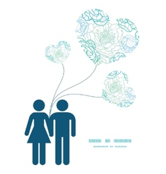 Blue line art flowers couple in love silhouettes vector