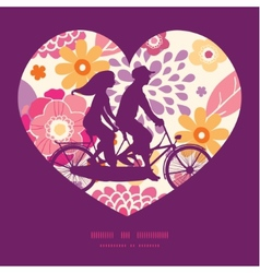 Warm summer plants couple on tandem bicycle vector