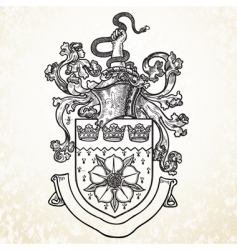 Knight helmet and crest vector