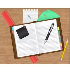 Diary and office supplies vector