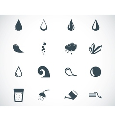 Black water icons set vector