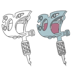 Tattoo gun black and colored vector