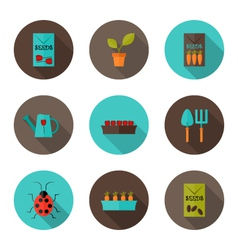 Gardening flat icons set vector