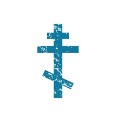 Grunge orthodox cross icon vector