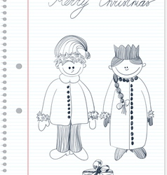 Sketch with santa claus and snow maiden vector