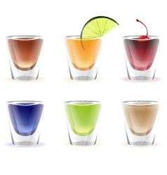 Set of colorful alcohol shots drink vector