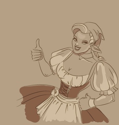Beerfest girl toned sketch vector