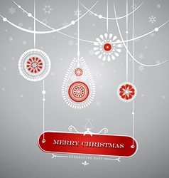 Christmas decoration with hanging plate with vector