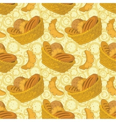 Seamless background bread in a basket vector