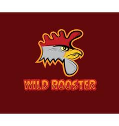 Cartoon head of wild rooster vector