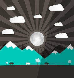 Night landscape with full moon - mountains and vector