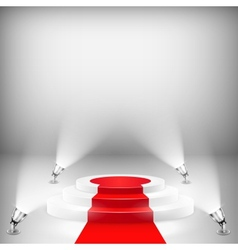 Illuminated podium with red carpet vector