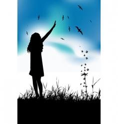 Girl in meadow vector