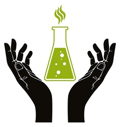Hands with chemical flask symbol vector